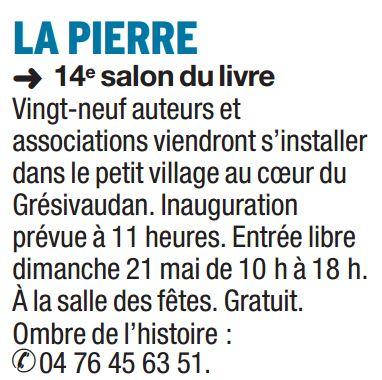 Dauphiné Libéré 14 mai 2017 - Infos pratiques